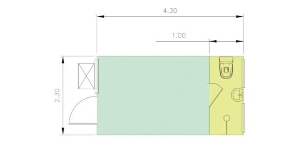 Container Habitacional Termoacústico 30mm MMTA-10-1-CH